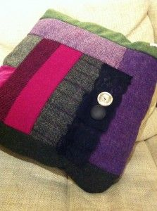 Large Harris Tweed heather colour cushion with fantastic  stamp material on the back.