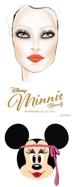 Swingin' '70s Minnie.   Step out in this glowing, 1970s-inspired beauty look.  1. Sweep I'm All Ears over your eyelid from lash line to crease and lower lash line.  2. Blend out edges to create a classic smoky eye. 3. Tap Be My Bow onto the center of your eyelid to create a highlight effect. 4. Apply mascara. 5. Sweep Minnie's Inner Glow Luminizing Blush over high points of cheeks for a radiant look. 6. Use SEPHORA COLLECTION Cream Lip Stain in Peach to complete the look.