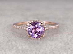 Natural 7mm Round Cut Amethyst Engagement Ring Diamond Wedding Ring 14k Rose Gold Halo Prong Set - BBBGEM