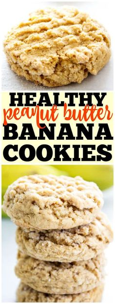Chewy HEALTHY PEANUT BUTTER BANANA COOKIES are a twist on your peanut butter cookie recipe. Made with no butter and less sugar, they make a great snack! #peanutbuttercookies #peanutbutter #healthyrecipes #banana