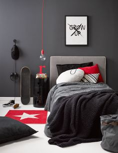 Kid's bedroom ideas: A dramatic monochrome room perfect for your teen Teen bedroom. moody, monochrome palette with red accents is a strong bedroom scheme that will grow with your teen. Here's how to style and shop the look Bedroom Red, Boys Bedroom Decor, Childrens Bedroom, Red Accent Bedroom, Boys Bedroom Ideas Tween, Dream Bedroom, Teen Boy Bedrooms, Preteen Boys Room, Teen Boys Room Decor