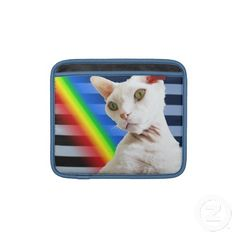 Casper the Devon Rex Cat iPad sleeve with rainbow stripes.