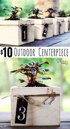 Mini Planter Box Centerpiece - Super cute DIY outdoor centerpiece idea! So cheap too! www.shanty-2-chic.com