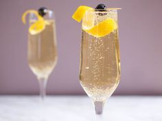 """According to Ted Haigh (aka Dr. Cocktail), the French 75 is one of two cocktails named after the French 75-mm field gun, which was commonly used in World War I. """"One barman in 1947,"""" reports Haigh, """"called it a Tom Collins with champagne instead of club soda. Vive la difference!"""" Here's Haigh's version of the recipe, from his wonderful book, \nVintage Spirits and Forgotten Cocktails."""