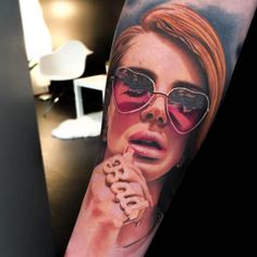 Lana Del Rey as seen through the tattoo machine of Levi Barnett. #InkedMagazine #realism #realistic #tattoo #tattoos #portrait
