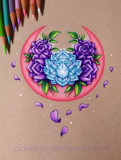 Drawing Roses Pink Moon, Purple Roses - Commission by dannii-jo on DeviantArt - Tattoos Skull, Rose Tattoos, Tribal Tattoos, Body Art Tattoos, Tattoo Drawings, Art Drawings, Celtic Tattoos, Sleeve Tattoos, Tatoos