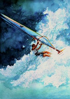 Shop online for canvas art prints, posters, cards of HANG TEN wind surfing action painting of a sailboarder surfing on a wave by artist Hanne Lore Koehler. Hang Ten, Water Photography, Surf Art, Sports Art, My Images, Photo Art, Surfing, Waves, Drawing