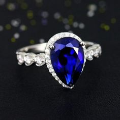 2015 New Affordable 8x12mm Pear Cut Blue Sappphire Sterling Silver Engagement Ring for Women