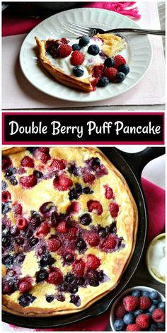 Double Berry Puff Pancake recipe from RecipeGirl.com #double #berry #berries #puff #pancake #puffpancake #pancakes #redwhiteandblue #breakfast #brunch #recipe #RecipeGirl via @recipegirl