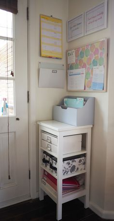 An organised family command center to keep track of everyday tasks, incoming paperwork and bills, and schedules.
