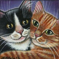 Two Cuddling Kitties Mini Painting