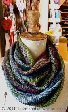 a most perfect and forever cowl by Tante Sophie using Kidsilk Haze Stripe by Rowan