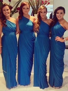 royal blue bridesmaid dress, one-shoulder bridesmaid dress, wedding party dress