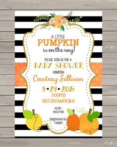 12 Shabby Chic Pumpkin Baby Shower Invitations with envelopes -Pumpkin- Fall-invite- invites by noteablechic on Etsy