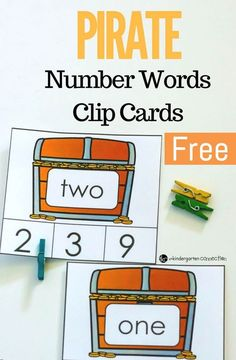 These pirate number words clip cards are a great math center for Kindergarten or early 1st graders to work on identifying number words to 20! #kindergarten #kindergartenmath #finemotor #teachersfollowteachers