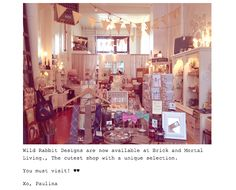Thank you to Paulina from Wild Rabbit Designs for including us on her Blog.   http://wildrabbitdesign.tumblr.com/post/30418737267  We are proud to be stocking Wild Rabbit at our little shop. Check the Wild Rabbit website at www.wildrabbit.ca - or click on the image to visit the Brick & Mortar Living Facebook Page.