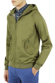 Classic Harrington jackets, an ideal layering piece with a gingham-checked lining. Harrington Jacket, Ben Sherman, Men's Grooming, Cotton Jacket, British Style, Jacket Style, Clothing Items, Military Jacket, Hoods