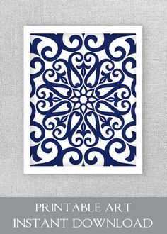 Printable Art Navy Blue Instant Bedroom Digital Print