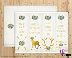 Printable Bookmarks | Instant Download | Set of 4 tribal gold bookmarks | digital collage sheet  | gold floral deer arrow antlers | - pinned by pin4etsy.com