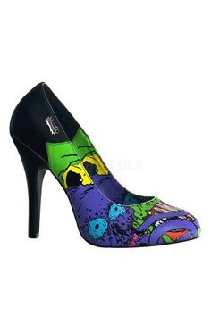 #FashionVault #pleaser shoes #Women #Footwear - Check this : Black Zombie Printed Pump High Heels for $85.99 USD
