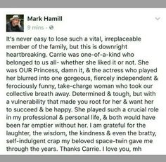 on the death of Carrie Fisher Carrie Fisher, Starwars, Mark Hamill Luke Skywalker, Emotional Vampire, Cognitive Dissonance, Trials And Tribulations, Narcissistic Sociopath, Sweet Messages, True Facts