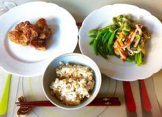 アスペルジュ・ソバージュと高野豆腐の唐揚げでベジごはん asperge sauvage & kara-age kohyadofu♪