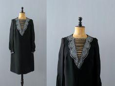 Vintage black dress. 1960s dress. silver sequin beads shift dress