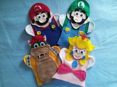 Super Mario, Luigi, Princess Peach and Bowser felt Puppets Felt Puppets, Felt Finger Puppets, Preschool Crafts, Crafts For Kids, Puppets For Sale, Biscuit, Custom Puppets, Super Mario And Luigi, Felt Pouch