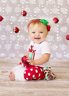 SHORT SLEEVE Christmas white red and green striped and polka dot present onesie ruffle bloomers diaper cover w/matching shabby chiffon roset. $66.00, via Etsy.