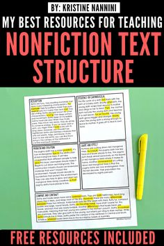 This post has some great FREE resources to teach nonfiction text structure to your 3rd, 4th, 5th, or 6th graders. It has free printables and activities that help your students learn and find clue words. Click through to see this teacher's entire unit and FREE anchor charts, posters, and passages. #ThirdGrade #FourthGrade #FifthGrade #SixthGrade #ELA #KristineNannini