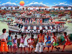 JOSINALDO TEMA DESPIDIDA DOS BARCOS A VENDA COM AJUR SP (Painting),  40x60 cm por Arte Naif AJUR SP VENDEDOR E DIVULGADOR DA ARTE NAIF BRASILEIRA