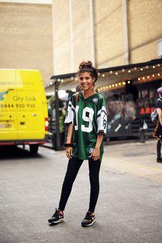 green jersey x nike sneakers | Very Varsity