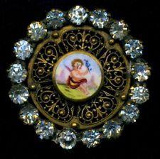 Antique Emaux Peints Enamel Button... Winged Figure...Paste Border