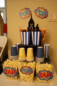 Batgirl party - gotham treat tower. #popcorn station #superhero #birthday