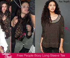 Selena Gomez and Justin Bieber laid low at the American Music Awards after party, however we managed to get a small glimpse of Selena's outfit. She wore a Free People Stripe Boxy Embroidered Long Sleeve Tee in color Black/Camel. You can get it on Free People's website for $98.  Buy it HERE.  She dressed up her outfit with a Theodora & Callum scarf.