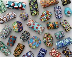 Antique Bead Exhibit - Venetian millefiori with composite murrine made in small scale by private artisans in their homes, studios, or as a cottage industry.