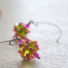 Green Gobstoppers Lampwork Glass Earrings by bstrung on Etsy, $28.00