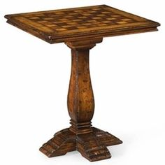 Jonathan Charles Walnut Game Table 493450. h1Jonathan Charles Walnut Game Table 493450_h1This beautiful Jonathan Charles Walnut Game Table 493450 is a figured walnut game table with a heavy antique distressed pedestal base. Chess game pieces included. See More Game Tables at http://www.ourgreatshop.com/Game-Tables-C1088.aspx