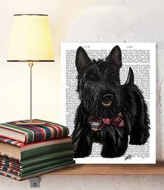 Scottish Terrier Scottie Dog Bow Original Painting Acyclic Art Illustration Digital Print Animal Painting Wall Decor Wall hanging Wall Art