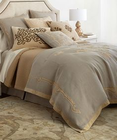 Callisto Designer Bedding Set: The Callisto Home Como Designer Bedding set is made of cotton velvet and linen. Shown with silk charmeuse Oasis quilt.