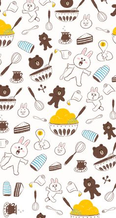LINE Deco - Brown & Cony Pattern Wallpaper, Print Wallpaper, Screen Wallpaper, Wallpaper Backgrounds, Mobile Wallpaper, Iphone Wallpaper, Character Wallpaper, Bug Art, Kakao Friends