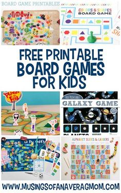 Check out these 13 free printable board games for kids. Great for a rainy day or to beat summer boredom! Printable Games For Kids, Printable Board Games, Free Games For Kids, Board Games For Kids, Diy Board Game, Board Games For Preschoolers, Free Board Games, Paper Games For Kids, English Games For Kids