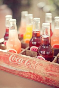 Too cute! Glass bottle sodas (Izzy, Jones, Coke, Others?) for those that don't drink.