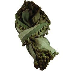 Bauble Scarf in Sage Green design by Canvas ($98) ❤ liked on Polyvore featuring accessories, scarves, green scarves, green shawl, summer scarves and summer shawl