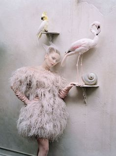 Gen W: Jennifer Lawrence September 1, 2012 12:00 AM | by Lynn Hirschberg Alexander McQueen ostrich feather dress. LaCrasia Gloves gloves; Fogal tights. Photography by Tim Walker Styled by Jacob K October 2012