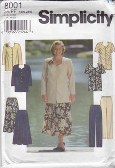 Simplicity Sewing Pattern 8001 Womens Plus Size 18W-24W Button Front Tunic Flared Skirt Pants   Simplicity+Sewing+Pattern+8001+Womens+Plus+Size+18W-24W+Button+Front+Tunic+Flared+Skirt+Pants