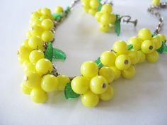 Vintage Yellow Beaded Necklace & Earring Clusters Early Plastic Molded Green Leaves 1940's 50's