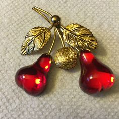 "AUSTRIA Red Pear Brooch --2 1/2""--Austrian fruit pin--Red crystals"