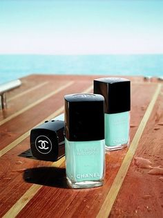 Chanel Tiffany Blue nail polish..I really like this color for summer. Its like the Caribbean in a nail polish color!