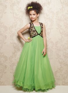 Doll Green Net Kids Layered Gown